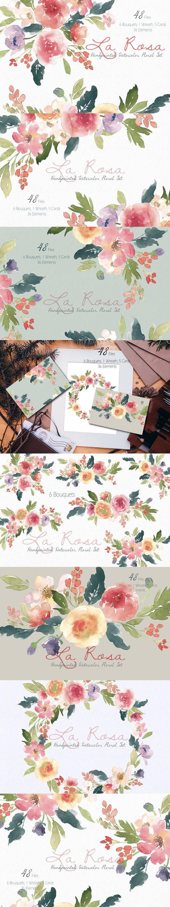 La Rosa- Watercolor Floral Set. Wedding Card Templates