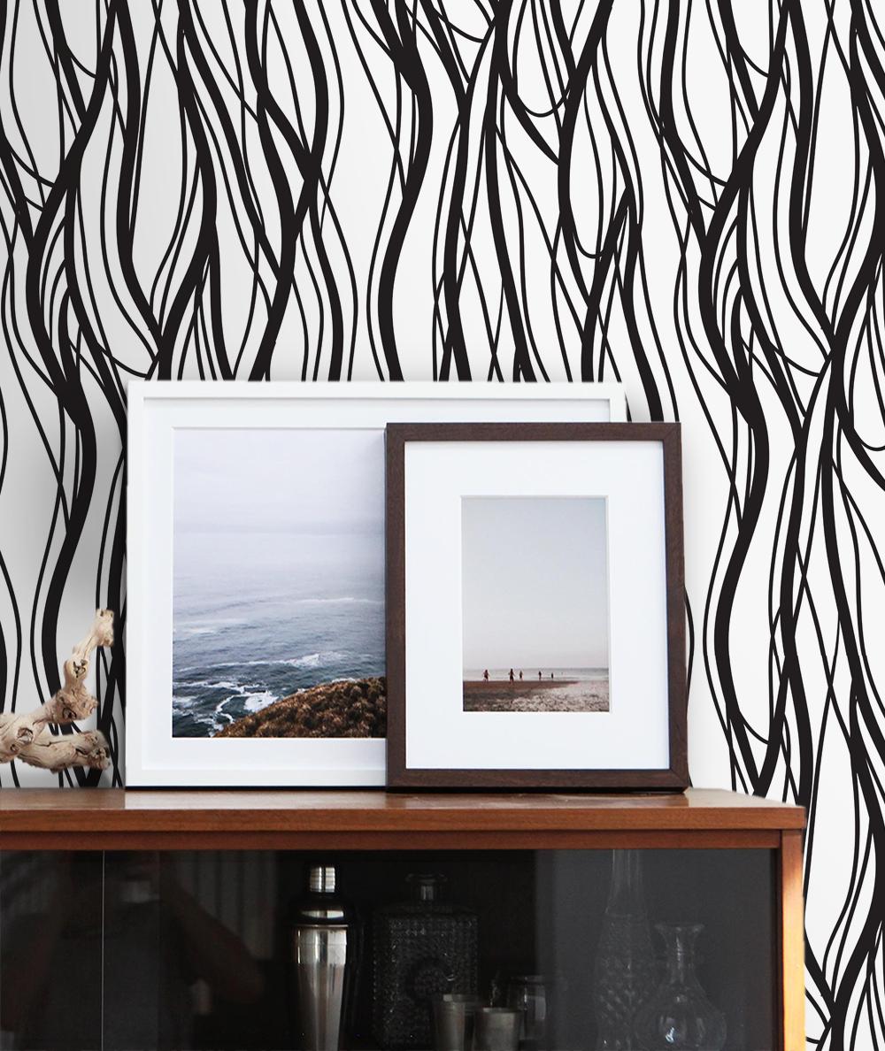Black And White Home Decor Idea Modern Interior Wavy Lines Peel Stick Wallpaper Design Blackandwhite Peelandstick Wallpaper Lines Wallpaper Wall Murals