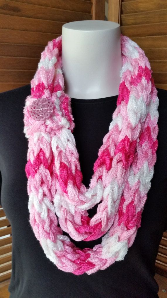 Handmade scarf, finger knit scarf, Infinity Scarf, Breast Cancer ...