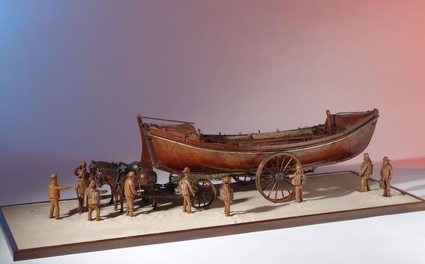 """""""Mariner's Friend"""", 1877 - Scenic model with figures of Hasting's lifeboat."""