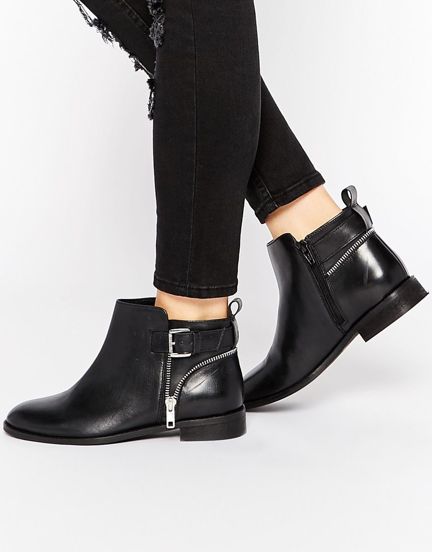 e9e21390be4 Image 1 of ASOS ALARM Wide Fit Leather Ankle Boots