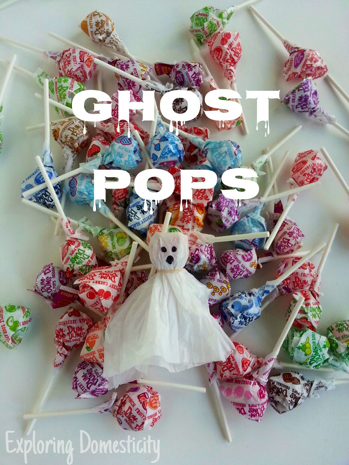 Ghost Pops cute Halloween craft with plastic grocery bags