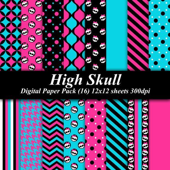 high skull digital paper pack 16 12x12 sheets 300 dpi scrapbooking