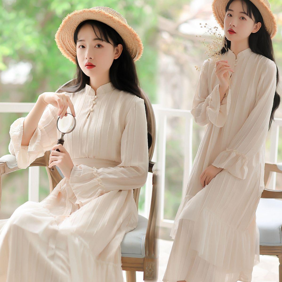 64ac7cbbccd7e チャイナ風ワンピース チュニック ドレス 唐装 漢服 チャイナ風服 レディースファション 民族風 可愛い レトロ