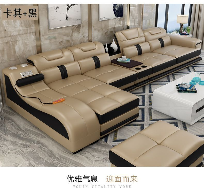Living Room Sofa Set Corner Sofa Massage Real Genuine Cow Leather Sectional Sofas Min Leather Sectional Sofas Living Room Furniture Styles Living Room Sofa Set
