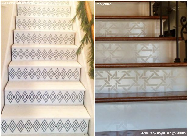Stenciled Stairs   14 DIY Ideas Using The Hottest Home Décor Trend