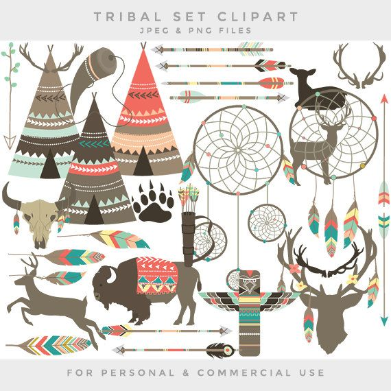 Tribal clipart - teepee feathers clip art ethnic deer dreamcatcher ...