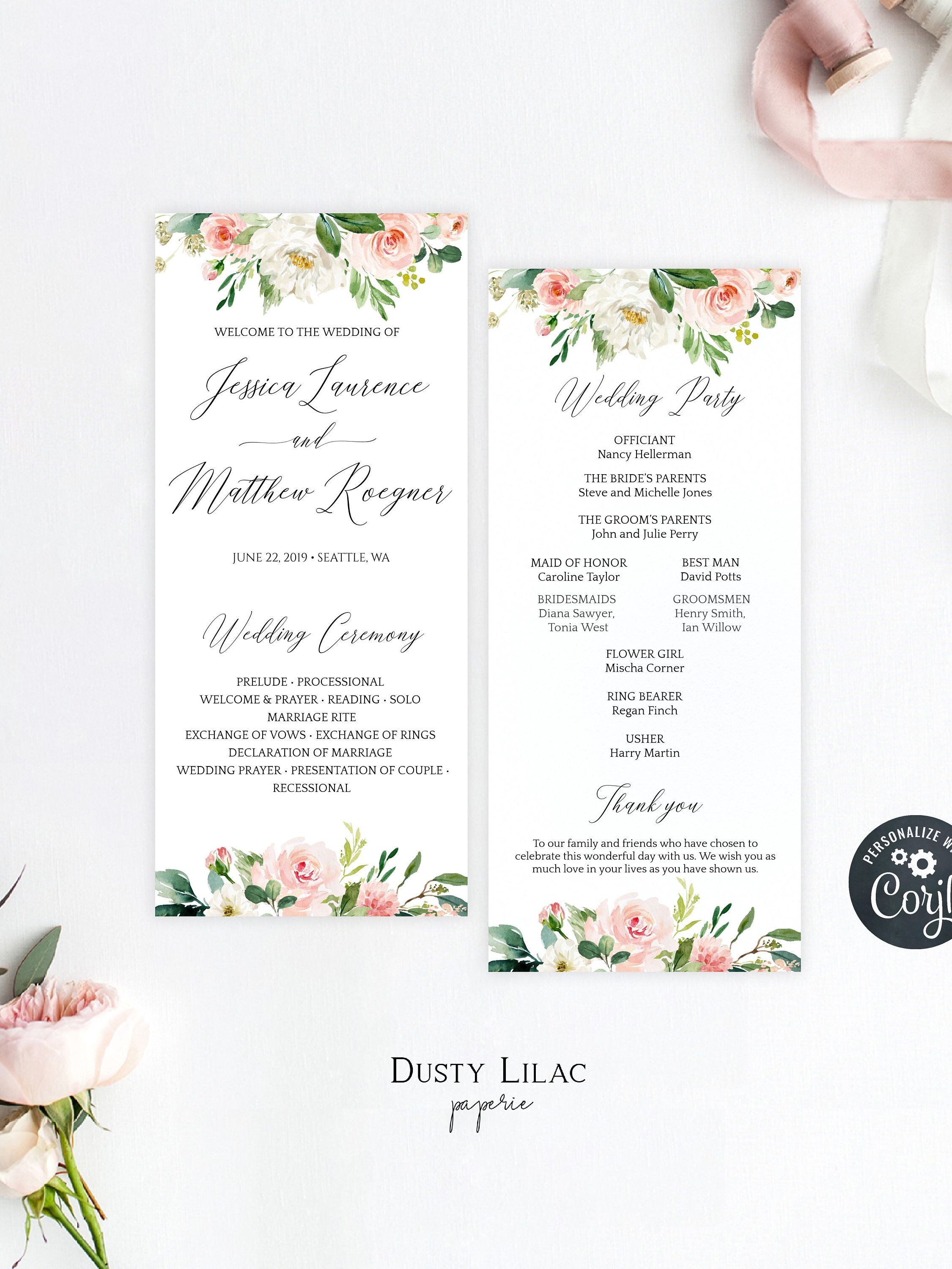 Blush Pink Floral Wedding Program Template Editable Double Sided