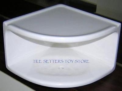 6 X6 X4 Tall White Ceramic Corner Dual Shelf Shampoo Soap Dish