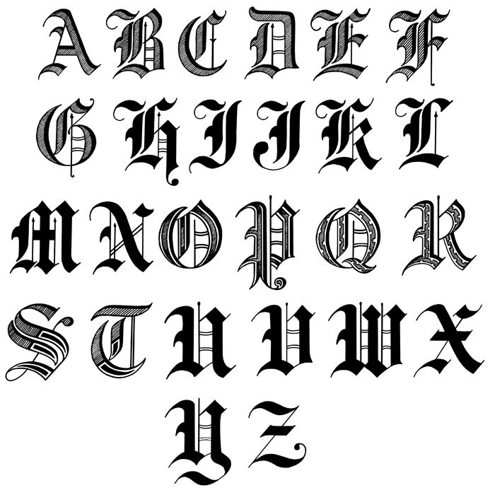 Letters in old english calligraphy and fonts