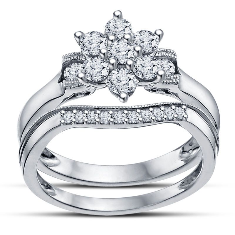 Round Cut Sim. Diamond Beautiful Prong Set Flower Engagement Her Bridal Ring Set #FlowerBridalRingSet