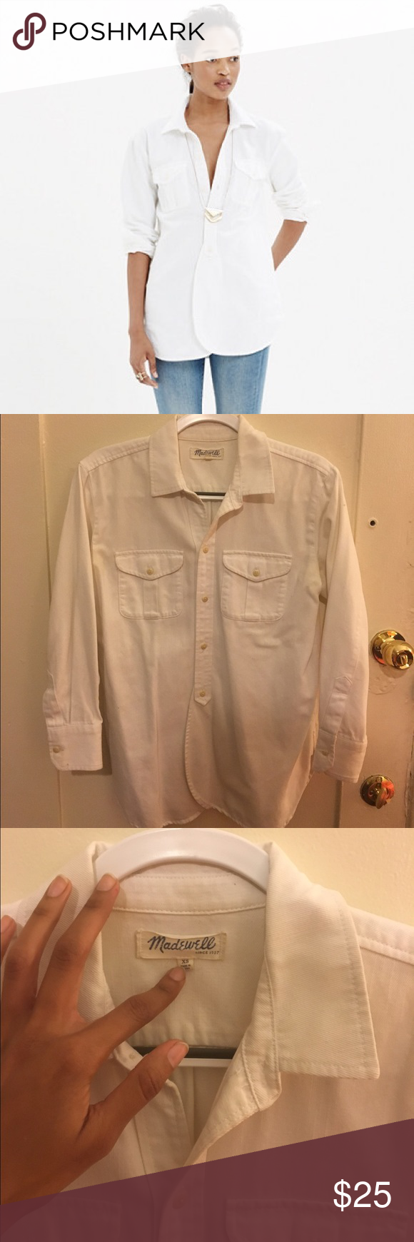 Madewell Pure White Denim Cargo Workshort light pen mark on shoulder - selling at huge discount! this shirt runs large, i am normally a medium and wear an XS on this button up shirt. Our signature workshirt gets a low-key makeover. Soft  and lovingly worn in, this one has overlapping shirttails in front for that easy undone look we love. Madewell Tops Button Down Shirts