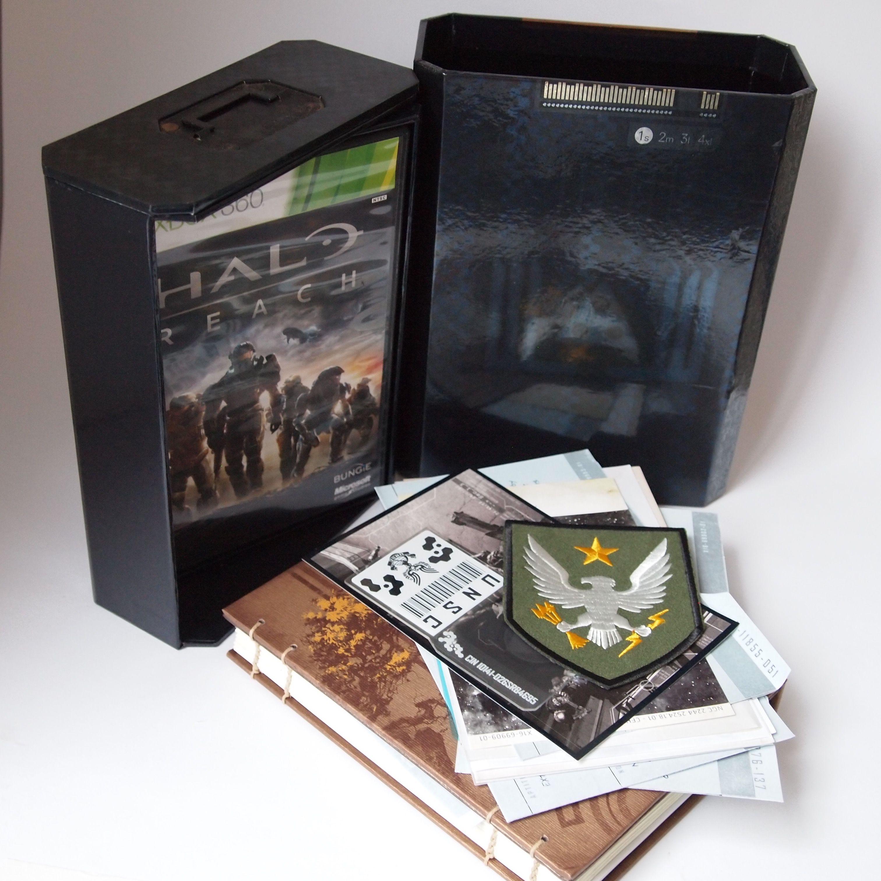Game Halo Reach - Limited Edition (Xbox 360).  Edição com vários brindes, numa caixa personalizada. Comprei pra servir de decoração.  Preço: R$ 150,00