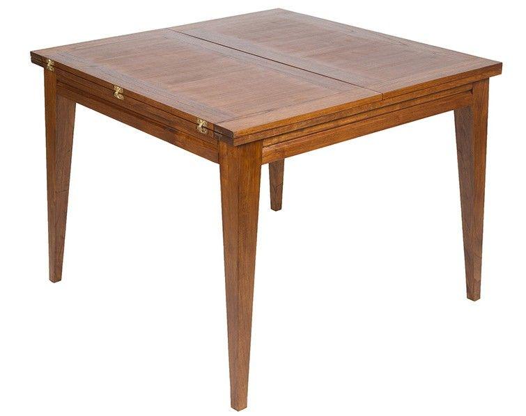 Mesa comedor cuadrada extensible de madera con acabado en nogal ...