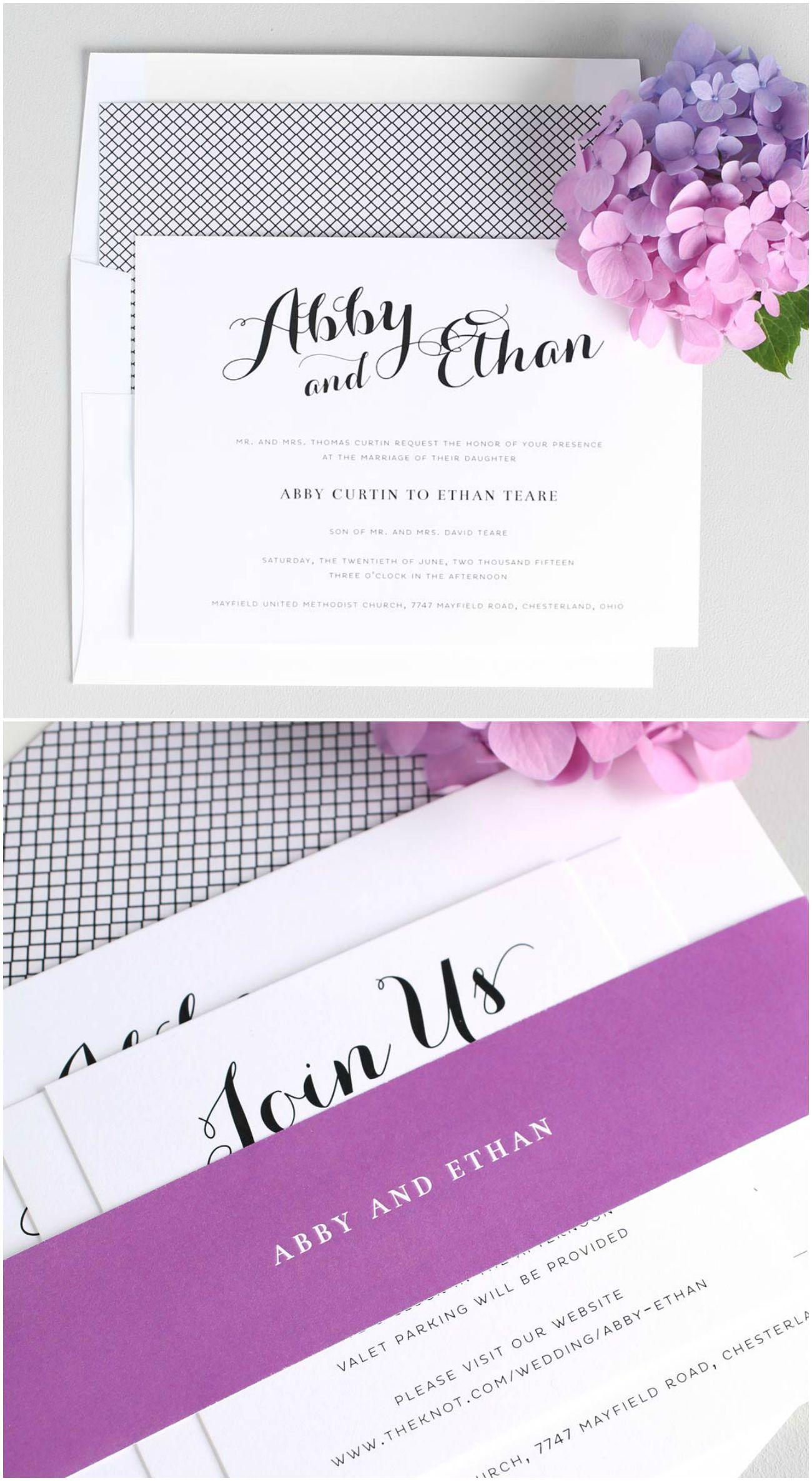 Romantic Calligraphy Wedding Invitations in Purple | Romantic ...