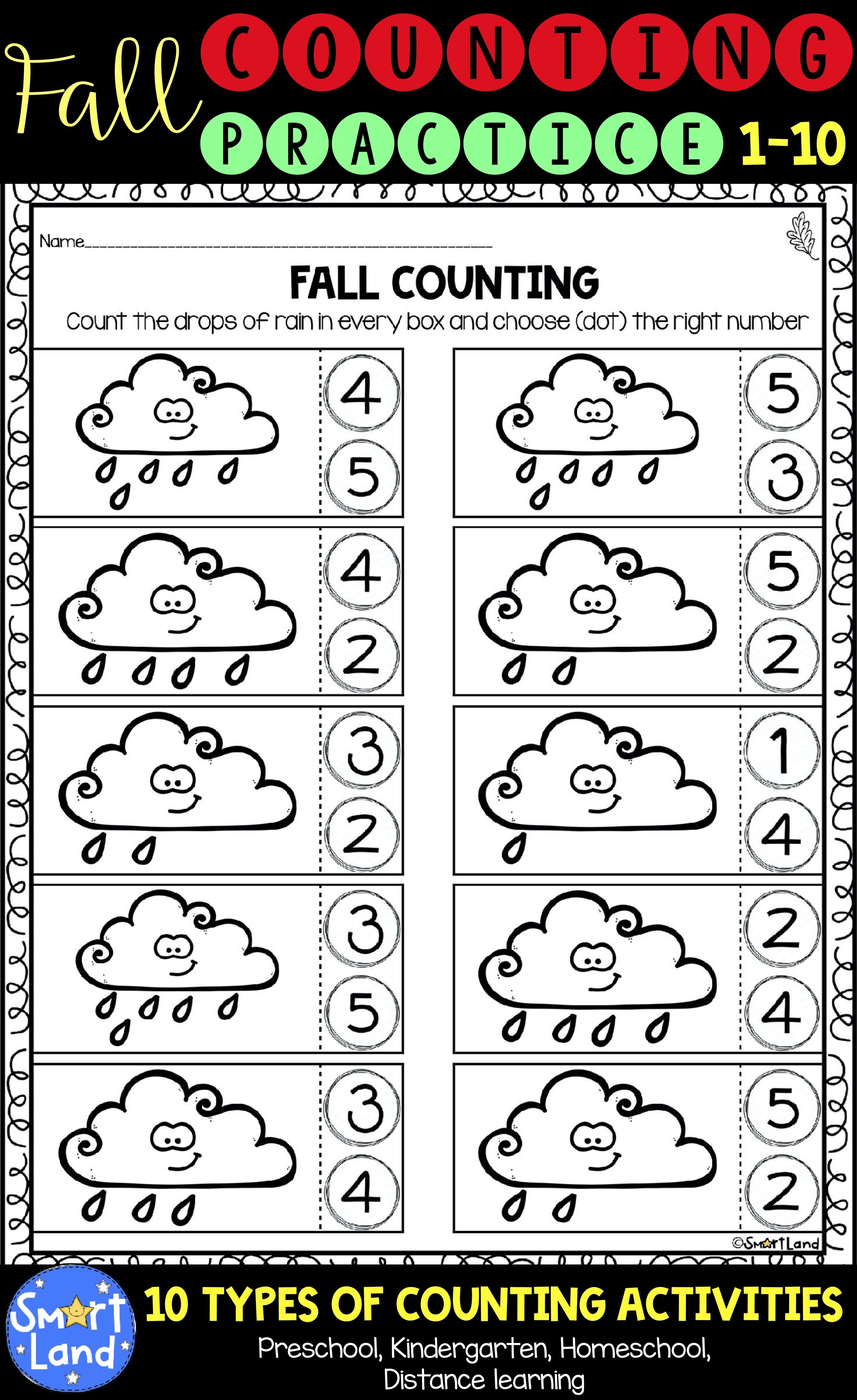 Fall Counting Practice Numbers 1 10 Distance Learning In