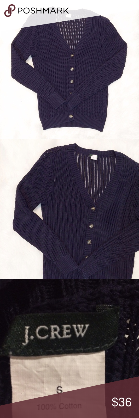 J. Crew cotton Cardigan Button front Cardigan by J. Crew. 100% cotton, nice quality material. Perfect for the office or dressed down with jeans and a t-shirt. In like new condition! Pit to pit is approximately 18 inches, shoulder to bottom hem is approximately 23.5 inches. J. Crew Sweaters Cardigans