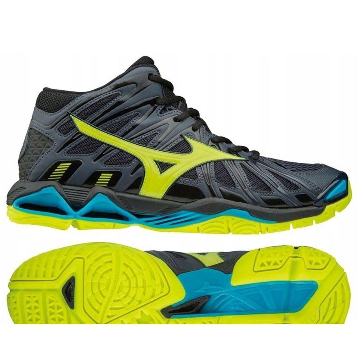 Buty Do Siatkowki Mizuno Wave Tornado X2 Mid M V1ga181747 Szare Czarne Volleyball Shoes Mizuno Shoes Mizuno