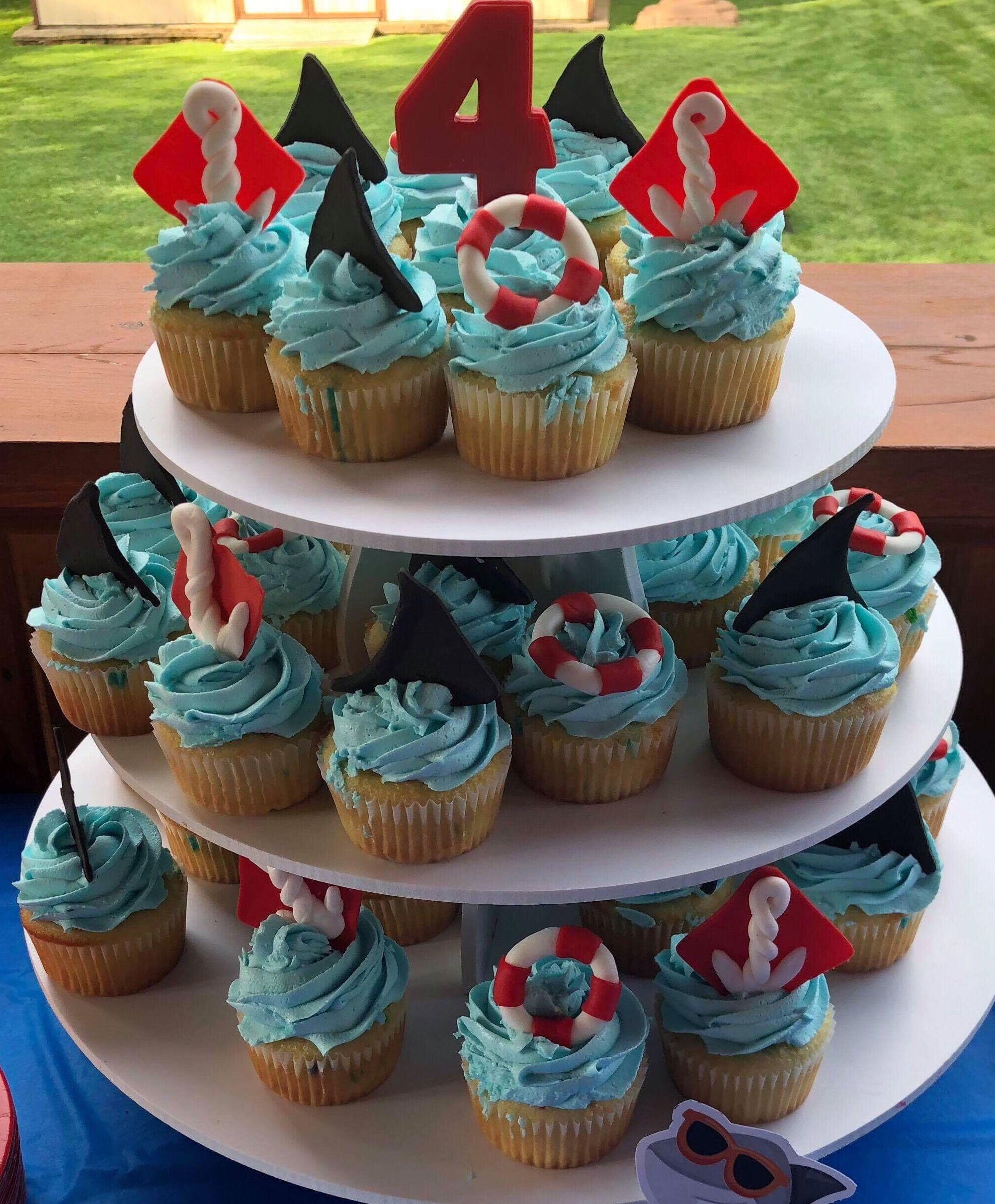 Shark theme cupcakes Themed cupcakes, Cupcake cakes
