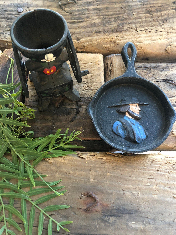 Vintage Cast Iron Miniature Pan Amish Man S