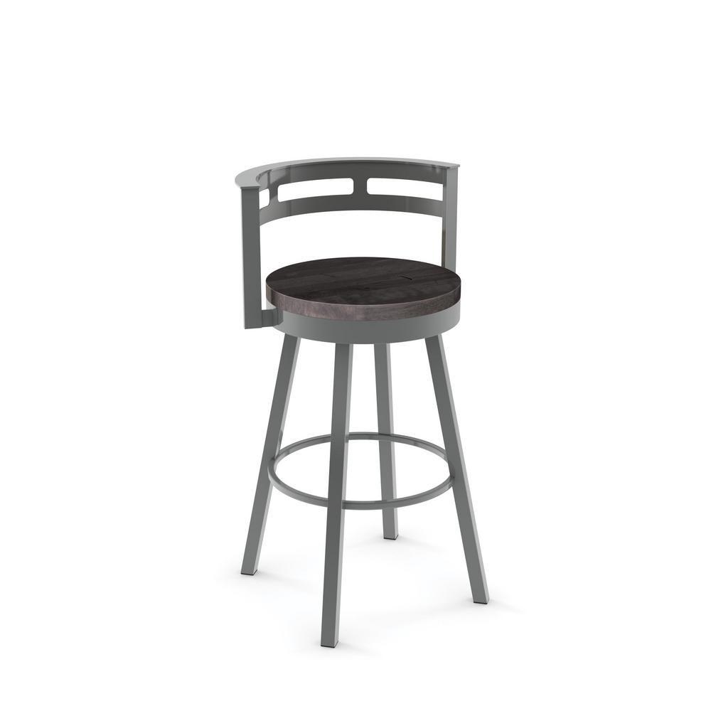 Amisco Vector 30 In Grey Metal Grey Wood Barstool 41243 30 2484