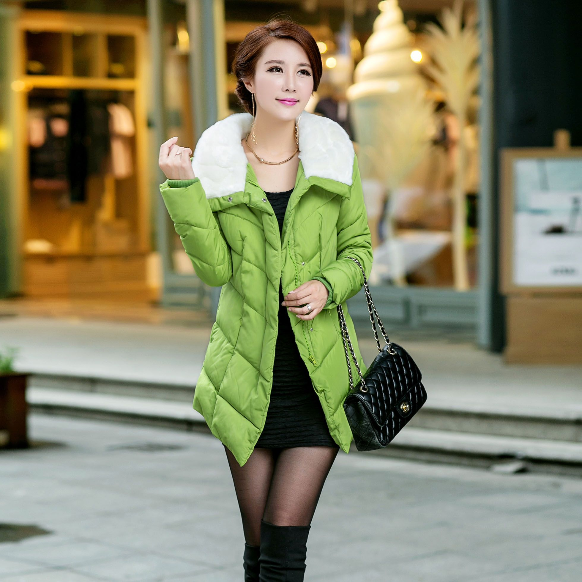 26e48655c 2017 medium-long plus size down cotton-padded jacket female slim ...
