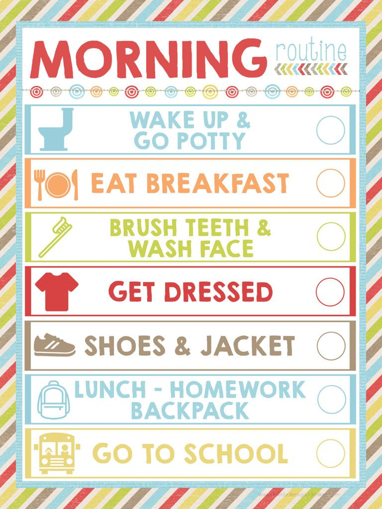 Peaceful image pertaining to morning routine checklist printable