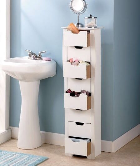 White Narrow Cabinet 8 Drawer Slim Storage Unit Hold Cds Jewelry Makeup Storage Solutions Diy Tiny Bathrooms Bathroom Storage
