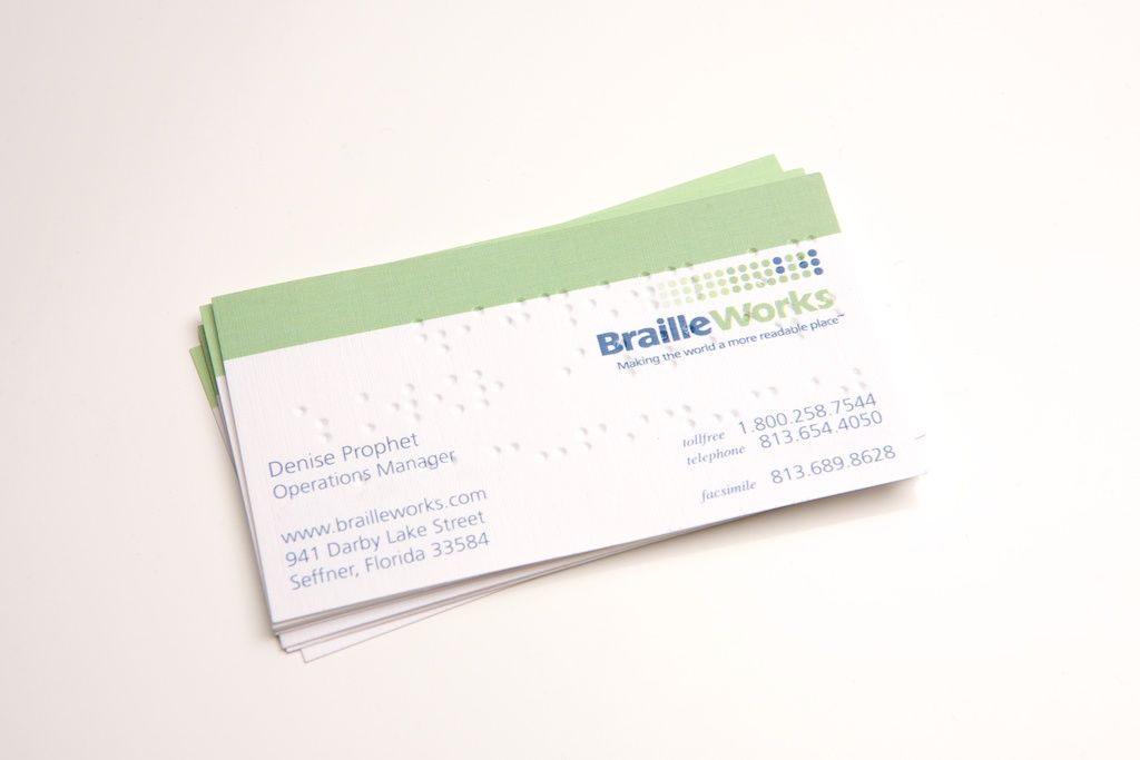 Professional Braille Business Cards Braille Works Sample Business Cards Professional Business Cards Business Card Maker