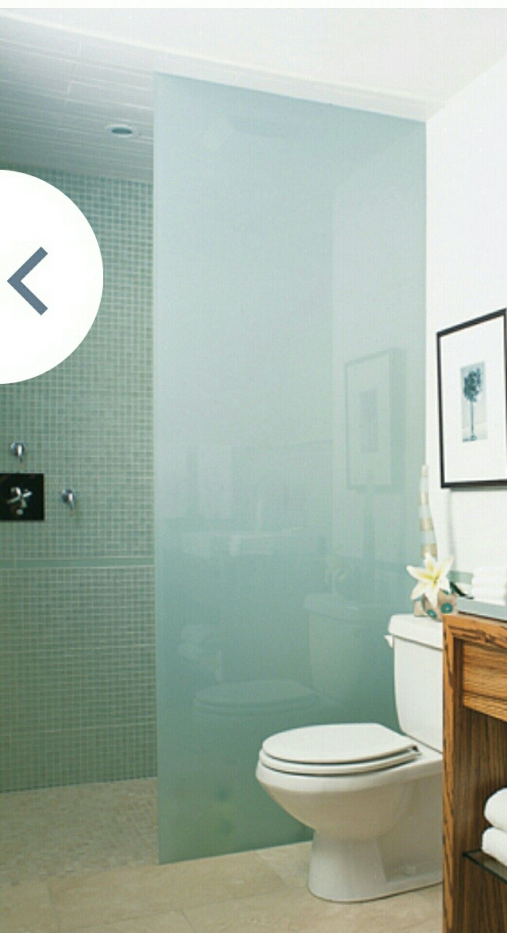 Shower With No Door Love The Opaque Glass From Floor To Ceiling