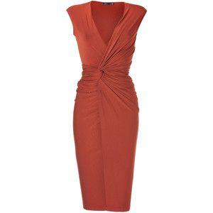 Donna Karan Burnt Orange Draped Jersey Dress