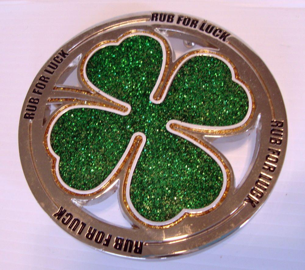Shamrock 4 Leaf Clover Irish Belt Buckle Green Gold Glitter White Rub for Luck