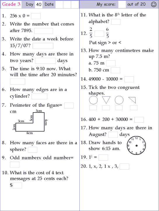 Mental Math Grade 3 Day 40 | Mental maths worksheets, Math ...