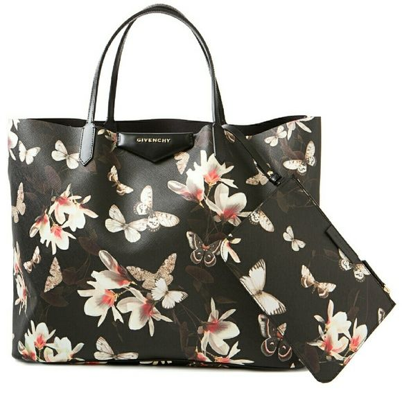 GIVENCHY magnolia floral antigona tote Givenchy floral leather tote with mini purse inside authentic and code inside bag in great condition. Givenchy Bags Totes