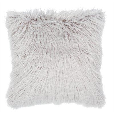Mongolian Faux Fur Pillow Cover – Silver Grey 8e1db7597cf67