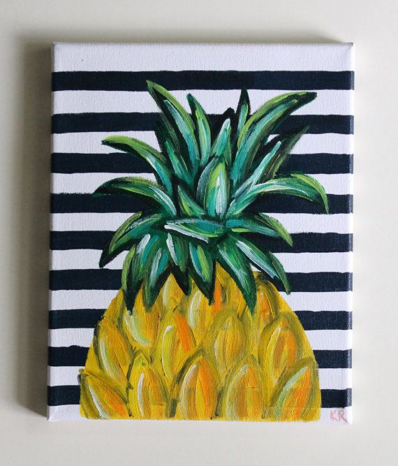 Tropical beach hawaiian pineapple acrylic painting art for Easy to do canvas art