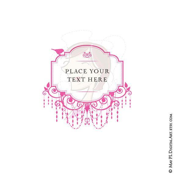 Pink Chandelier Antique Digital Frame With Bird Graphics Make Cards Wedding Scrapbooking Clipart Png Instant Download