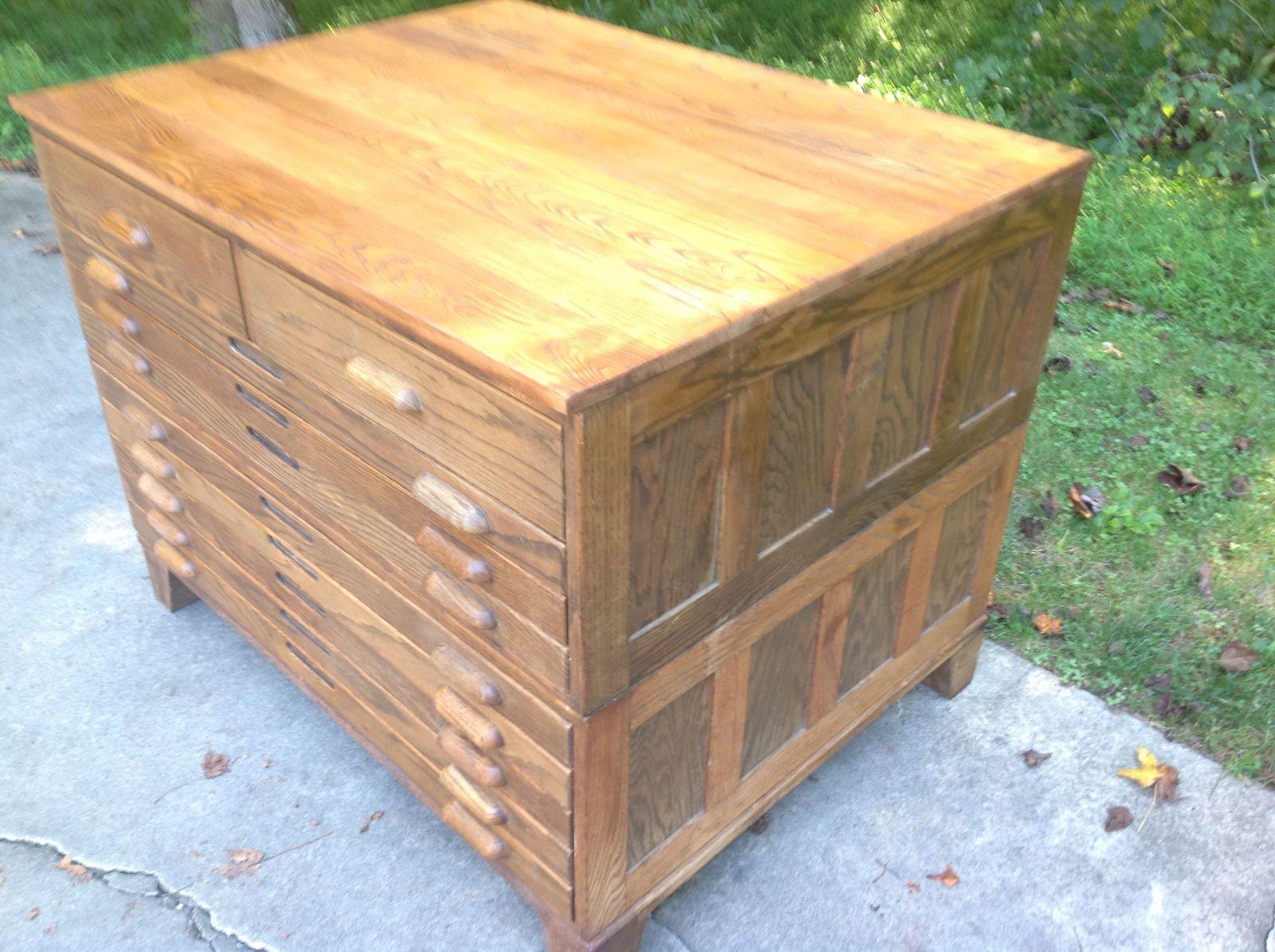 Antique vintage hamilton wood blue print drafting oak flat file antique vintage hamilton wood blue print drafting oak flat file cabinet malvernweather Choice Image