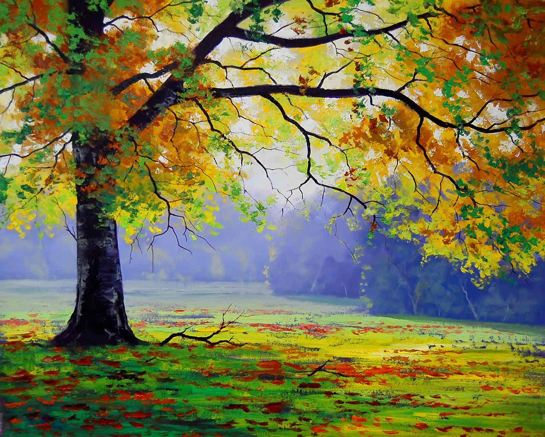 Best Seller Autumn Tree Handmade Oil Painting On Canvas Easy Landscape Paintings Tree Art Tree Painting
