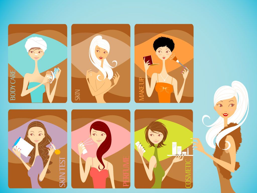 beauty salon cartoon clipart cartoons clip background spa cosmetology salons care makeup seven cosmetic skin hair different labels including vectorfree