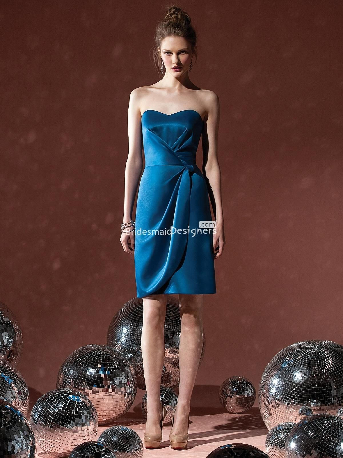 Beautiful ocean blue sweetheart knee length sleeveless draped satin