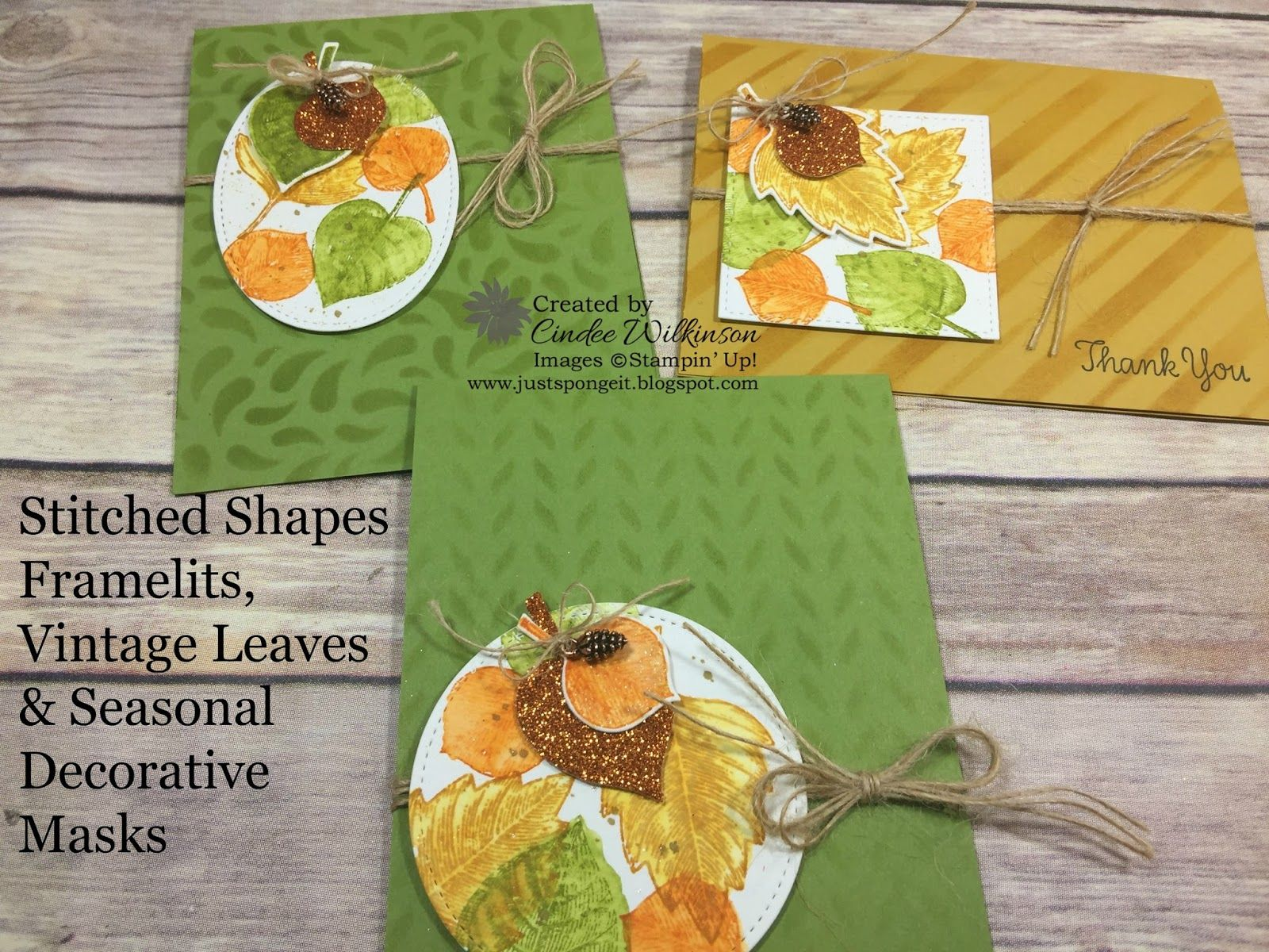Stampin Up Seasonal Decorative Masks Classy Faux Watercolor Technique On The Leavescindee Vintage Leaves Inspiration