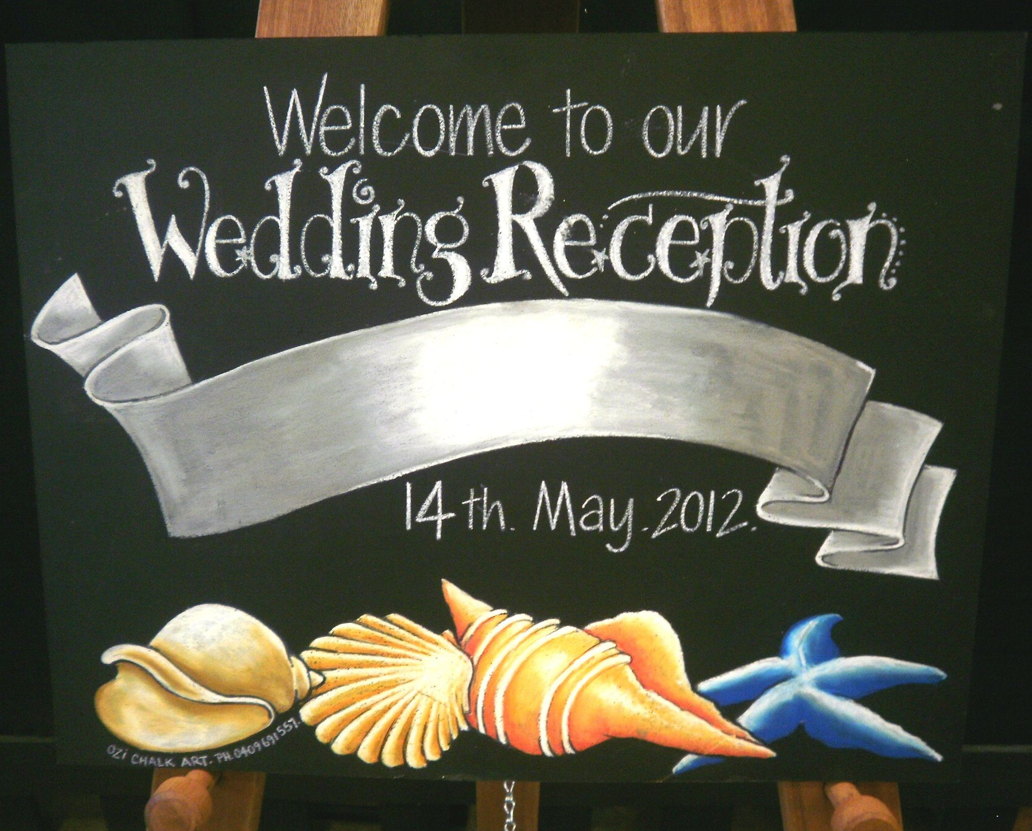 Welcome To Our Wedding Reception Chalk Art Board Beach Theme Personalized Especially For You