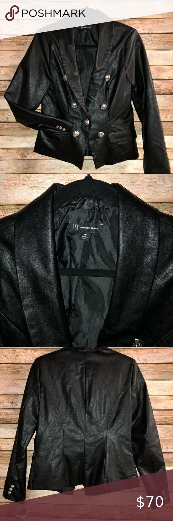 Inc Womens Black Leather Blazer Jacket Nwt Womens Black Leather Blazer Black Leather Blazer Leather Blazer Jacket [ 1740 x 580 Pixel ]