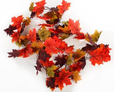 6 Foot Autumn Artificial Silk Garland with Multiple Fall Colors Maple Leaves