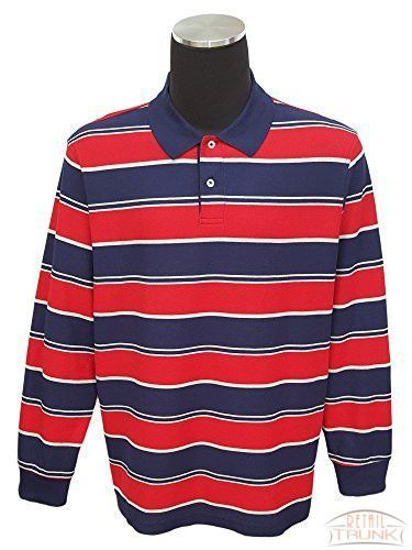 Club Room Performance Men's Stripe Long Sleeve Polo