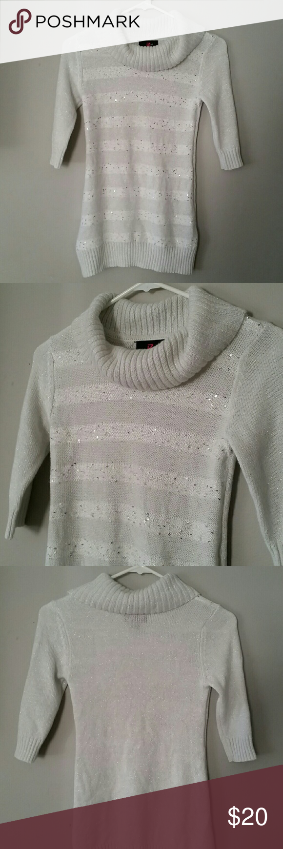 Girls cowl neck sweater | Silver sequin, Cowl neck and Sequins