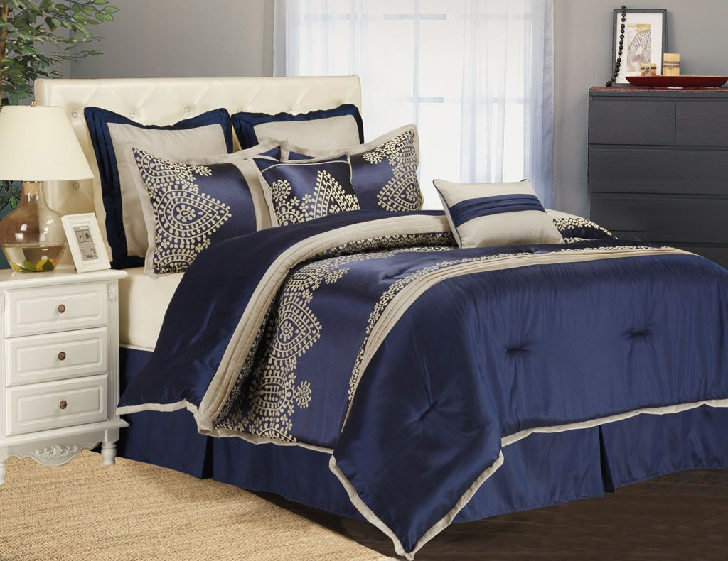 Ideas Blue Comforter Sets Queen With Nightstand
