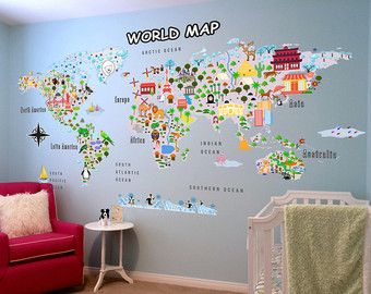Animal map cultural world map wall decal reusable vinyl fabric world map wall decal gumiabroncs Gallery
