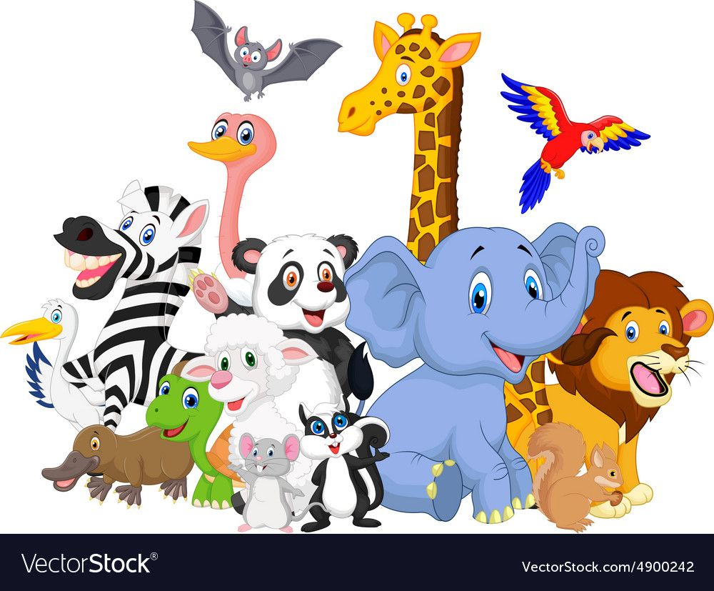 Cartoon wild animals background vector image on Động vật